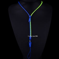 NEW Free shipping zipper necklace Employee's card/key hang rope dark blue+green