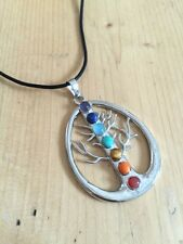 CHAKRA CRYSTAL TREE OF LIFE NECKLACE OVAL GEMSTONE JEWELLERY BUDDHIST NEW AGE