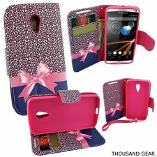 For Motorola Moto G2 Phone Case (Moto G 2nd Generation) Wallet Pouch Love Ribbon