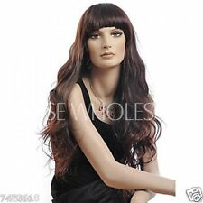 100% Real Hair! Chic Long Wave Brown Wig With Full Bang For Women