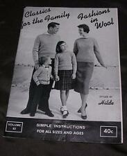 VTG 1956 HOW TO KNITTING PATTERN BOOK Classics for Family Fashions in Wool HILDE