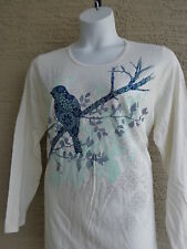 New Just My Size Graphic Cotton Blend L/S Scoop Neck Tee Top 4X Ivory  Multi