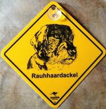 12cm Roadsign Schild mit Saugnapf RAUHHAARDACKEL Warnschild Hund