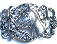 1 - 2 HOLE CUFF BEAD FOCAL HORSE HEAD ROSES VINES CLEAR CRYSTAL ANTIQUED SILVER