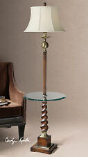 NEW BROWN TWISTED WOOD FLOOR LAMP BRONZE METAL ACCENTS BEVELED GLASS TRAY LIGHT