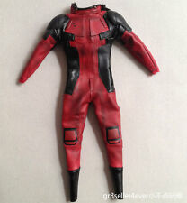 "1/6 Hot Toys MMS347 Deadpool tailored red leather suit clothes fit 12"" body"