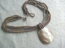 Vintage 1960-70s Unused Mother-of Pearl 5 x String Bead 21 Inch Necklace,V.G.C.