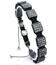 Gray Square Shamballa Hip Hop Bracelet White Pave Crystals One Size #13 NEW