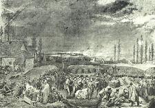 Attaque de la citadelle d'Anvers 1832 - Gravure XIXème