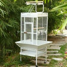 "White 61""Large Bird Pet Supply Iron Cage Parrot Finch Stand Cage Macaw Cockatoo"