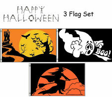 3x5 Happy Halloween 3 Flag Wholesale Set #9 3'x5' House Banner Grommets