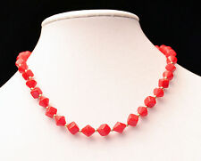 """UNBRANDED - GOLDTONE RED DIAMOND & CUBE ACRYLIC & GOLD SHOT BEAD NECKLACE - 18"""""""