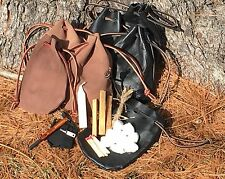 Handmade Leather Drawstring Pouch Fire Starting Kit Bushcraft Primitive Brown