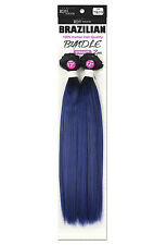 Weave Hair Extension Two Tone Color Remi Touch Yaki Straight Long Silver Purple