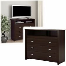 3 Drawer Dresser Chest TV Stand Media Storage Modern Bedroom Furniture Espresso