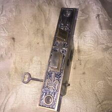 Antique Mallory Wheeler  Victorian Cast Iron  Mortise Lock With Skeleton Key