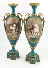 Important Pair Huge Royal Worcester Vases Satirical Dog Subjects After Landseer