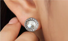 Swarovski Crystal Elements Sparkly Shiny Silver Clear White Round Stud Earrings