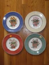 Set 4 Wedgwood Sarahs Garden Salad Plates Blue Green Beige Red 1997 EXC Ret.