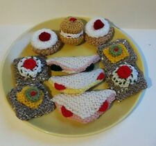 Hand knitted play picnic food - sandwiches, cracker, cakes 11 items
