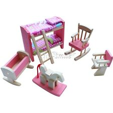 Lot 6 Set Wooden Doll House Miniature Furniture Kids Play Toy Xmax Gifts