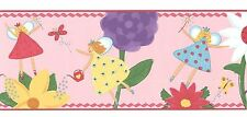 Fairy Magical Pixies & Butterfly Flowers Girls Pink Wallpaper Border 51784LW