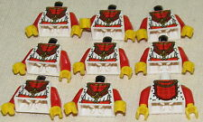 LEGO LOT OF 9 NEW RED AND WHITE CASTLE KING KNIGHT KINGDOMS TORSOS FIG PARTS