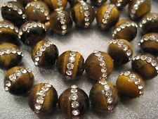 Tiger Eye w/ Rhinestone 10mm Round Beads 39 pcs