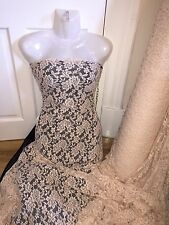 "1 MTR NUDE COTTON THREAD LYCRA STRETCH LACE FABRIC...65"" WIDE"