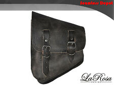 La Rosa Harley Softail Chopper Rustic Black Leather Left Swing Arm Saddle Bag