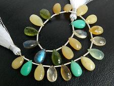 77ctw Crysoprase Labradorite Prehnite Yellow Opal Vesuvianite Pear Beads