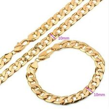 "18CT REAL GOLD FILLED MENS CHAIN NECKLACE/BRACELET SET 24""X8"" 10MM 65 GMS"