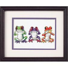 Dimensions D16758 | Tree Frog Trio Picture Counted Cross Stitch Kit | 18 x 13cm