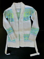 Justice girls 10 long open cardigan sweater jacket fair isle gems sparkle new