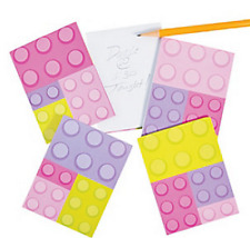 Pack of 12 - Girls Pastel Colours Brick Block Notepads - Lego Party Bag Fillers