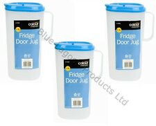 3 x 1.8L Fridge Door Jug & Lid Pitcher Litre Container Milk Plastic Juice Water