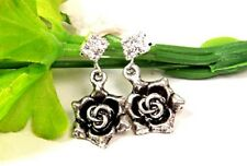 Vintage Art Deco style silver rose flower earrings