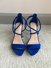 NWT Zara Cobalt Blue Strappy Sandals Suede Shoes 37 6.5