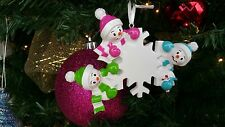 Snowmen Family of 3 Personalized Christmas Tree Ornament Gift