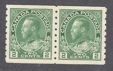 CANADA STAMP #128 --- 2c COIL PAIR -  PERF 8 VERT- 1912 - UNUSED