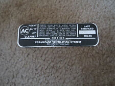 1963 CHEVROLET CORVAIR OIL BATH AIR CLEANER BASE SERVICE INSTR DECAL