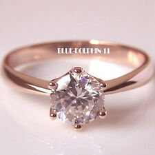 Genuine Solid 9ct Rose Gold Engagement Wedding Solitaire Ring Simulated Diamond