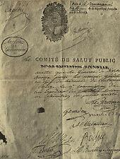 NAPOLEON ARRETE DU COMITE DE SALUT PUBLIC NOMANT BONAPARTE GENERAL EN CHEF