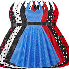 Cocktail Retro Vintage Halter Polka Dots Party Dress Evening Bow Swing 1950s New