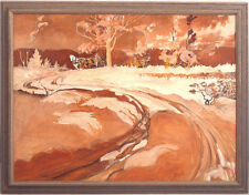 Canadian Vintage c.1940's Original Oil/Panel Winter Landscape Quebec qqoo