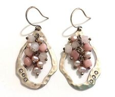 Silpada Hammered Sterling Silver Rose Quartz Pink Soapstone Earrings - W2211