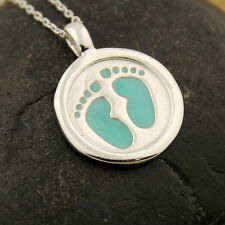sterling silver baby boy Footsteps Necklace Pendant charm with 925 chain N-23