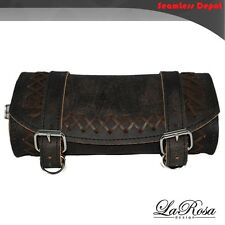 La Rosa Universal Fitting Rustic Black Leather Cross Lace Front Fork Tool Bag