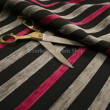 Pink Grey Black Textured Striped Pattern Chenille Curtains & Upholstery Fabric