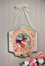 Vintage-style EASTER DOOR SIGN Easter Greetings with Bunny NEW Made of Wood